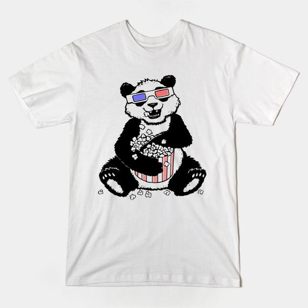 Panda eating popcorn T-shirt design by Jayme Art