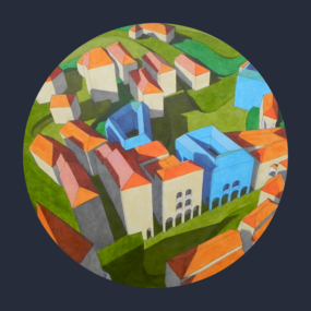 virtual model with blue houses