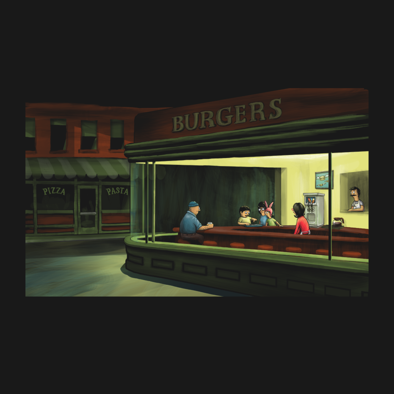 T shirts night burgers teepublic for Diner painting