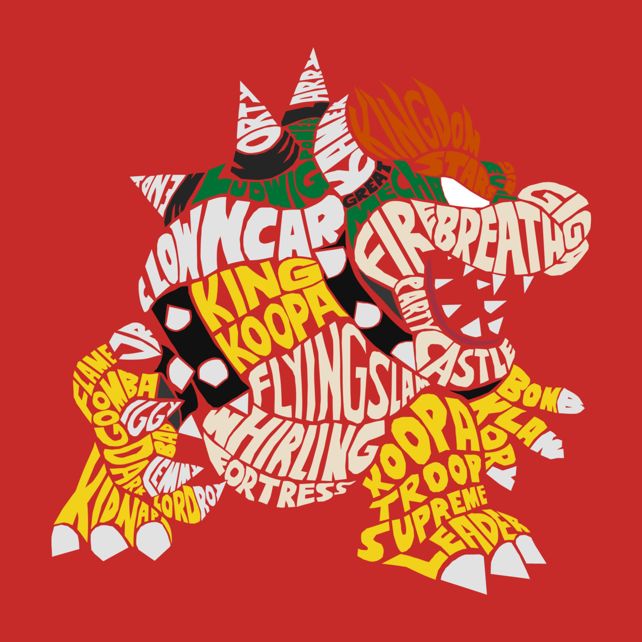 T-Shirts, Bowser Typography